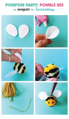Christine Leech has been a busy bee creating this free tutorial to show you how to make your own hive of 'Pomble' bees! Discover her secrets to wrapping yarns and create amazing striped pom poms to turn into fuzzy bees. Crafts To Make And Sell, Diy Crafts For Kids, Arts And Crafts, Pom Pom Crafts, Yarn Crafts, Pom Pom Animals, Boyfriend Crafts, Bee Crafts, Valentine's Day Diy