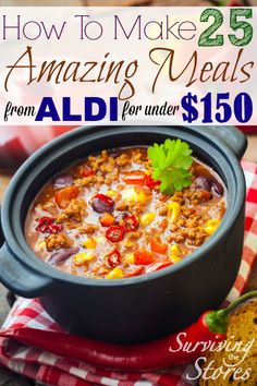 I love shopping at ALDI!! This list makes it so easy to make 25 meals from ALDI and still stay on budget!