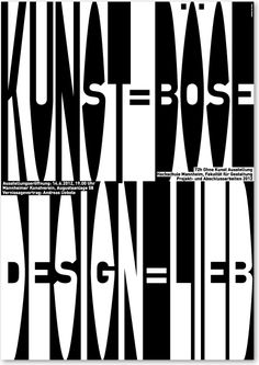 kunst=böse/design=lieb (art=nasty/design=nice)  poster on the occasion of a lecture at the »72h ohne kunst« vernissage in mannheim, 2012. Andreas Übele. www.uebele.com