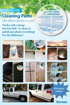 Norwex Cleaning Paste is an environmentally friendly paste that works with a damp EnviroCloth™ to clean, polish and protect chrome, stainless steel*, porcelain and similar surfaces in one application. Safe for use on coffee pots, glasses and most food-ware products. Works great on bathroom tubs and tile, too! Phosphate-free. Comes as a solid. To order, visit: www.cflynn.norwex.biz