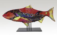 Руби Мун рыбы скульптура Карен-отеля ehart до (художественное стекло скульптура) | искусный домой