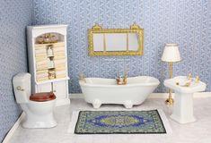 Blue Willow China, Victorian Dollhouse, Doll Furniture, Clawfoot Bathtub, Miniature Tutorials, Dolls, Ideas, Miniature Crafts, Home Goods