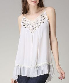 off-white embroidered ruffle tank