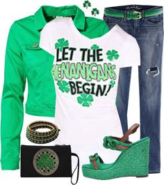 """""""Shamrocks & Shenanagans - I love me some shenanigans Fall 2015 Outfits, Holiday Outfits, St Patrick's Day Outfit, Outfit Of The Day, Saint Patricks, St Patricks Day, Look Good For You, St Paddys Day, St Pats"""