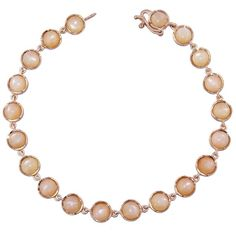 Irene Neuwirth Cabochon Peach Moonstone Chain Bracelet ($2,460) ❤ liked on Polyvore featuring jewelry, bracelets, orange, peach jewelry, 18k bangle, orange jewelry, chains jewelry and irene neuwirth