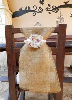 Burlap chair sash with lace  flower