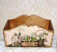"""Купить Короб """"Натюрморт"""" - разноцветный, зеленый цвет, короб для хранения, натюрморт, винтаж, дерево"""