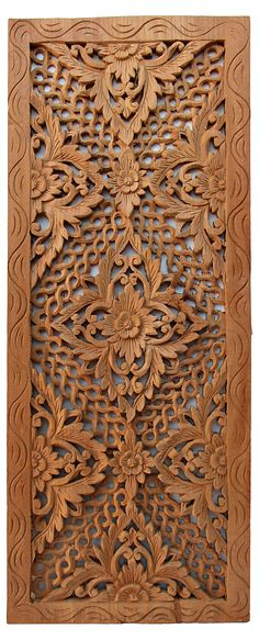 "One Kings Lane - Asian Art Imports - 36"" Carved Teak Panel IV"