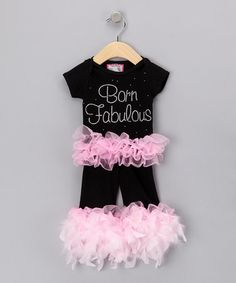 Take a look at this Black 'Born Fabulous' Tee & Pants - Infant, Toddler & Girls by Born 4 Couture on #zulily today!