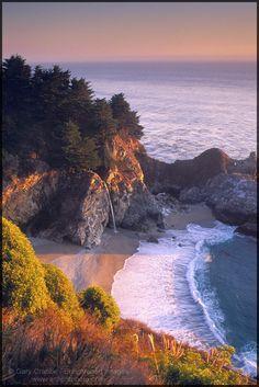 Waterfall on beach at Julia Pfeiffer Burns State Park, Big Sur Coast, California