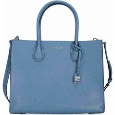 Michael Kors Mercer Large Bonded Leather Tote - Denim ($228) ❤ liked on Polyvore featuring bags, handbags, tote bags, michael kors, michael kors handbags, denim purse, blue tote bag and tote hand bags