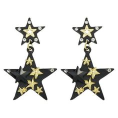 Black Rhinestone Multilayered Star Drop Earrings ($6.69) ❤ liked on Polyvore featuring jewelry and earrings