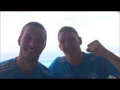 Lukas Podolski und Bastian Schweinsteiger senden Grüße vom WM-Finale aus Rio de Janeiro