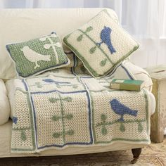Crochet For Children: Bird on Branch Throw With Pillows - Free Pattern
