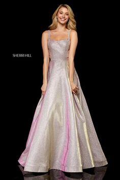 acefb0c41ef Sherri Hill 52138 Strapless glitter stretch A-line gown. Designer Prom  Dresses