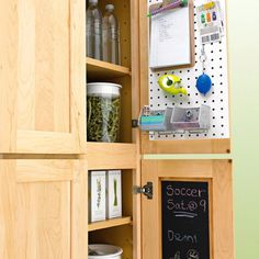 Maximize storage by utilizing the back of cabinets with over the door organizers.
