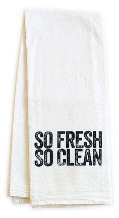 "One Kings Lane - The Kitchen Store - ""So Fresh"" Tea Towel, Black"