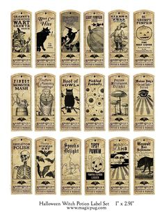 Halloween Witch Potion Label digital collage sheet bat cat holiday wicca 1x3 27mm x 73mm labels. $4,50, via Etsy.