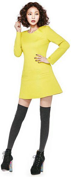 Diva Onepiece Dress (2 Colors) | Dolly & Molly | www.mydollymolly.com | #colorful #daily #pick #lookbook #yellow #daydream #lemon #dress #korea #kpop #koreafashion #ivory #simple