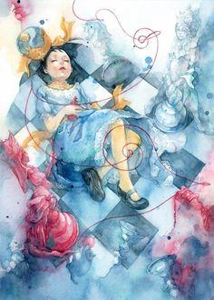 不思議の国のアリス。朱華が描く水中のような浮遊感ある幻想的なイラスト集