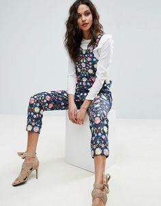 Needle and Thread Floral Embroidery Overalls - Blue