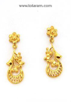 Gold Drop Earrings - - Indian Jewelry from Totaram Jewelers Gold Earrings For Women, Gold Earrings Designs, Gold Jewellery Design, Necklace Designs, Gold Bangles, Bridal Bangles, Gold Mangalsutra Designs, Gold Jewelry Simple, Jewelry Patterns