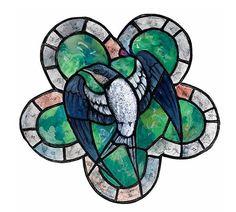 """Twentieth Century British Art by Edward Irvine Halliday: """"Stained glass window design with Swallow"""" Window Design, Stained Glass Windows, Swallow, Modern Art, Glass Art, British, Gouache Painting, Design Art, Patterns"""