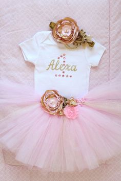 Beautiful Pink Gold Tutu Skirt, Satin Flower Headband and Personalized Birthday Onesuit for Baby Girl 12 Months Old First Birthday Cake Smash