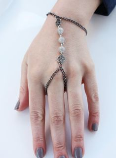 Beaded Slave bracelet Gray Bead finger hand chain / bracelet by LiveLoveLeaf, $16.00
