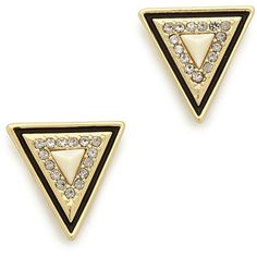 House Of Harlow 1960 Triangle Stud Earrings - Gold/Ivory