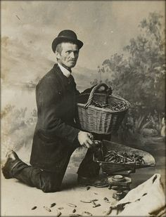 UK real photographic postcard of tradesman. Postcard is dated 1911 and sent from Devon.