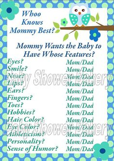 Printable Baby Shower Game Who Knows Mommy by