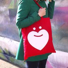 Love Santa Screen Printed Red Christmas Tote Bag