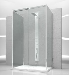 Sliding shower enclosure with two fixed panels for shower tray ...