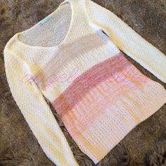"Loose knit striped sweater This sweater is a light loose knit, very pretty colors. Cream, tan, pink, and light pink stripes. V-neck. Long sleeved. Length: 28"", bust: 18"", sleeve length: 25.5"". Maurices Sweaters V-Necks"