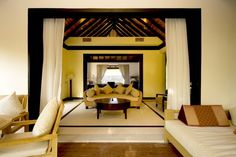 Luxurious Private Beach House with Beautiful Sea View : Wooden Furniture Ideas With Rattan Sofa Bed White Floor Design