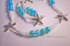 Starfish Necklace Bracelet and Earrings  Nautical by ThoreauFair