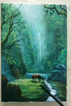 Canvas Painting Tutorials, Diy Canvas Art, Acrylic Painting Inspiration, Acrylic Art, Acrylic Painting Canvas, Cool Art Drawings, Forest Painting, Art Techniques, Landscape Paintings