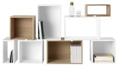 Stacked Shelf - Composition with 8 modules White / Ash by Muuto - Design furniture and decoration with Made in Design