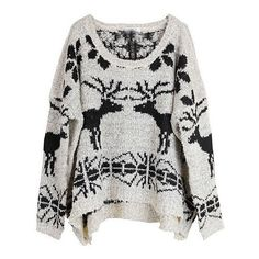 Beige Batwing Long Sleeve Deer Print Sweater (€31) ❤ liked on Polyvore featuring tops, sweaters, shirts, jumpers, beige, long sleeve tops, pullover sweater, patterned sweater, long sleeve jumper and long-sleeve crop tops