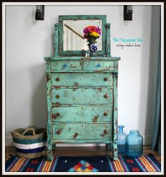 The Turquoise Iris: Turquoise Heavily Distressed Antique Dresser