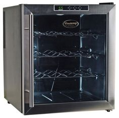 Vinotemp VT-16TEDS Thermo-Electric Digital 16-Bottle Wine Chiller, Black and Stainless by Vinotemp. $223.98. Vinotemp VT-16TEDS Thermo Electric Digital Black w/Stainless Steel trim (16) Bottle wine cooler.  With the innovative thermo-electric cooling system, which involves very few moving parts, your wine will be protected from unneccessary vibration.  More importantly, Thermo-electric cooling does not use ozone depleating chemicals such as CFC's or HCFC's so you will be su...