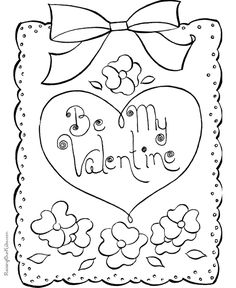 Valentines Day Cards Coloring Pages Be My Valentine Heart Card Page Sheets Cutout
