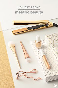 Yellow and rose gold metallics are trending in beauty this holiday season. Makeup brushes from Real Techniques, flatiron hair sets from Chi (brush & blowdryer not shown), and eyelash curlers give hair & makeup prep the luxe treatment, while Essie nail polish in Getting Groovy & W3ll People lipgloss add the perfect finishing touch. Treat yourself to a little shimmer, or gift em to the beauty fanatic on your list.