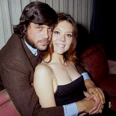 """Oliver Reed embraces Diana Rigg at a London Hilton Hotel press reception for the forthcoming film, 'The Assassination Bureau"""". (November 1967)"""