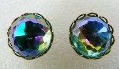 Pretty Vintage Blue Round Crystal Gold Tone Metal Stud Earrings | eBay
