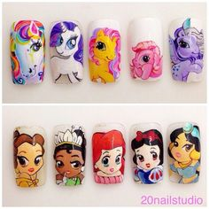 french tip nails Cute Nail Art, 3d Nail Art, Nail Arts, Cute Nails, Disney Princess Nails, Disney Nails, Girls Nail Designs, Nail Art Designs, Christmas Nail Designs