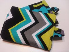 Green Blue and Black Striped Chevron Tula Suck Pads by fabfotos