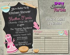 Kitchen Shower Invitation - Bridal Shower Invitation With Matching Recipe Card Printable (Digital File Only)