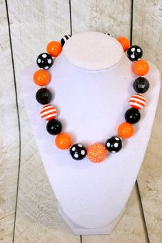 halloween chunky bubblegum bead necklace by